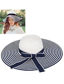 sweet Navy Blue & White Bow-knot Shape Stripe Design Twine Sun Hats