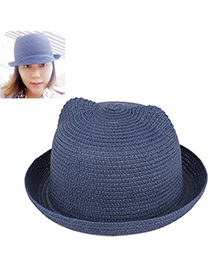 fresh Navy Blue Pure Color Crimping Design Twine Sun Hats