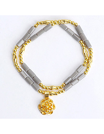sequins Gray Flower Shape Decorated Double Layer Design Alloy Fashion Bracelets