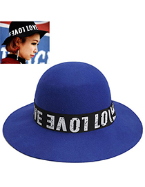 decorous Blue Letter Love Pattern Simple Design Woolen Beanies Others