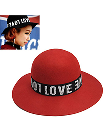decorous Red Letter Love Pattern Simple Design Woolen Beanies Others