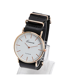 Elegant Black Letter Pattern Simple Design Alloy Ladies Watches