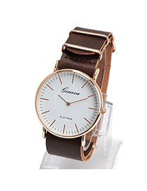 Elegant Coffee Letter Pattern Simple Design Alloy Ladies Watches