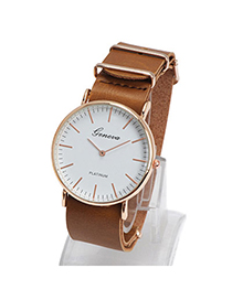Elegant Brown Letter Pattern Simple Design Alloy Ladies Watches