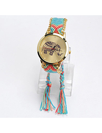 Fashion Brown Color Matching Decorated Round Dail Design Watch
