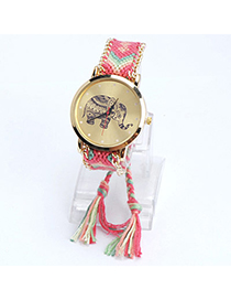 lovely Pink Elephant Pattern Decorated Tasel Design Alloy Ladies Watches