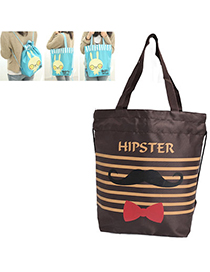 Trendy Brown Bowknot Pattern Simple Design Oxford Backpack