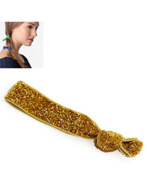 Shiny Yellow Pure Color Tie Simple Design Rubber Band Hair Band Hair Hoop