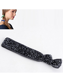 Shiny Gray Pure Color Tie Simple Design Rubber Band Hair Band Hair Hoop