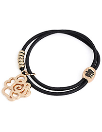 Trendy Black Flower Shape Decorated Hollow Out Design Rubber Band Hair Band Hair Hoop