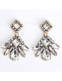 Boutique White Diamond Decorated Square Shape Design Alloy Stud Earrings