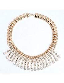 Pretty Gold Color Diamond Decorated Tassel Design Alloy Korean Necklaces