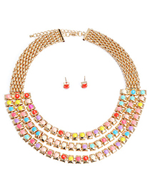 Glamour Multicolor Gemstone Decorated Multilayer Design Alloy Jewelry Sets