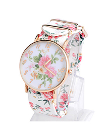Fresh White Rose Pattern Simple Design Alloy Ladies Watches
