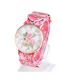 Fresh Plum Red Rose Pattern Simple Design Alloy Ladies Watches