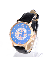 Fashion Silver Color Diamond Decorated Small Seconds Round Case Design Alloy Men's Watches