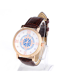 Men Brown Weesky Pattern Lovers Style Design Alloy Men's Watches