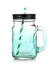 Gradient Color Green 550ml Letter Pattern Transparent Glass Design With A Straw Glass Household goods