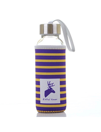 Portable Yellow & Purple 430ml Cartoon Pattern Cloth Case Bottle Design Glass Household Goods
