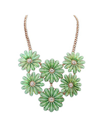 Patagonia Green Double Layers Flower Gemstone Decorated Design Alloy Bib Necklaces