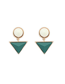Cheerleadi Green Triangle Gemstone Pendant Design Alloy Stud Earrings
