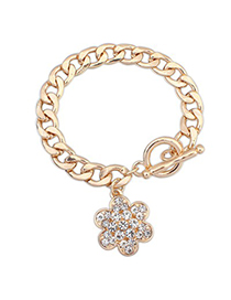 Pewter Gold Color Full Of Diamond Flower Decorated Alloy Korean Fashion Bracelet