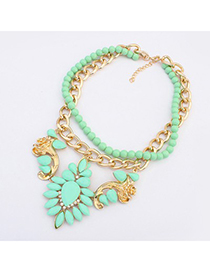 Cute Light Green Gemstone Flower Decorated Double Layer Design Alloy Fashion Necklaces