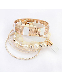 Fitness White Vintage Hollow Out Metal Pearl Design Alloy Fashion Bangles