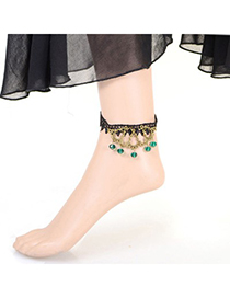 Memorable green gemstone decorated simple design alloy Fashion Anklets