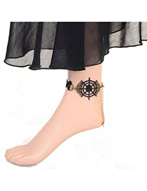Fashion Gold Color Diamond Decorated Double Layer Simple Anklet(1pc)