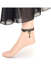 Cheap black beads decorated flower design alloy Fashion Anklets