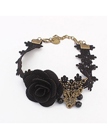Healing black flower decorated lace design