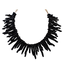 Papyrus black irregular geometrical shape design alloy Bib Necklaces