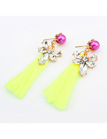 Apparel Fluorescent yellow pearl decorated tassel design alloy Korean Earrings
