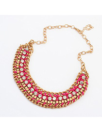 Corduroy plum red CZ diamond decorated weave design alloy Korean Necklaces