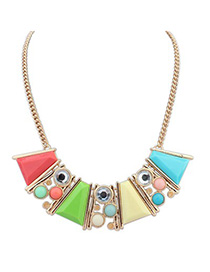 Hiking multicolor gemstone decorated Trapezoidal design alloy Korean Necklaces