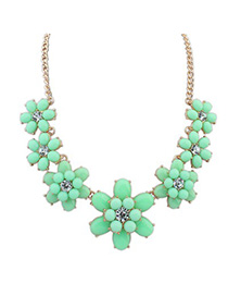 Extreme green gemstone decorated flower design alloy Fashion Necklaces