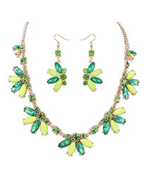Quicksilve green CZ diamond decorated Butterfly shape design alloy Jewelry Sets