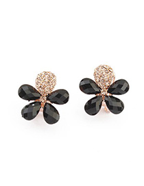 2013 black gemstone decorated flower design alloy Stud Earrings
