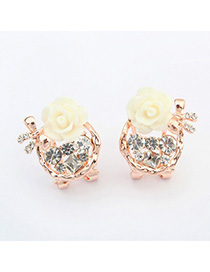 Bridal white bowknot decorated flower design alloy Stud Earrings