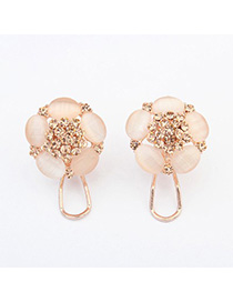 Quicksilve beige diamond decorated flower design alloy Stud Earrings