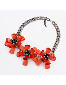 Tummy padparadscha flower decorated simple design resin Fashion Necklaces