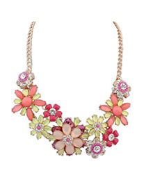 Physical Multicolor Gemstone Decorated Flower Design Alloy Bib Necklaces