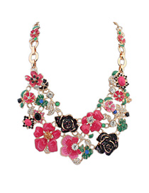 Engravable Red Flower Decorated Simple Design Alloy Bib Necklaces