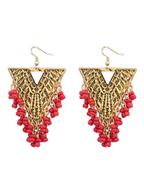 Native Red Beads Decorated Triangle Shape Design Alloy Korean Earrings