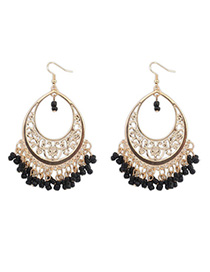 Fashionabl Black Bead Tassel Decorated Hollow Out Design Alloy Korean Earrings