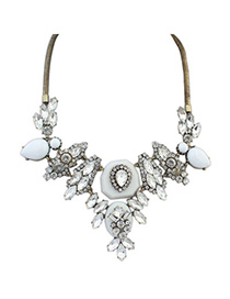Revealing White Diamond Decorated Waterdrop Shape Design Alloy Fashion Necklaces