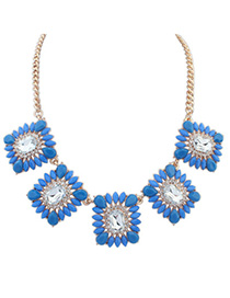 Little Blue Gemstone Decorated Square Shape Design Alloy Bib Necklaces