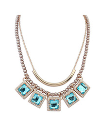 Expression Navy Blue Diamond Decorated Square Pendant Design Alloy Beaded Necklaces