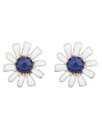 Acrylic Navy Blue Gemstone Decorated Flower Design Alloy Stud Earrings